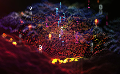 Big data. Processing an array of information. Global digital network. 3D illustration of a space funnel in neon colors