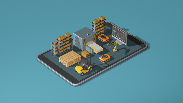 supply chain, logistics, automation, industry 4.0. concept. isometric view (3d render)