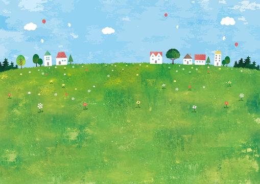 草原と家の田舎町の景色油彩