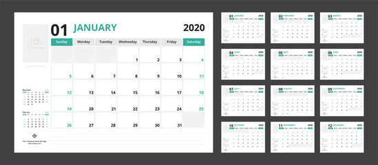 2020 calendar planner set for template corporate design week start on Sunday.