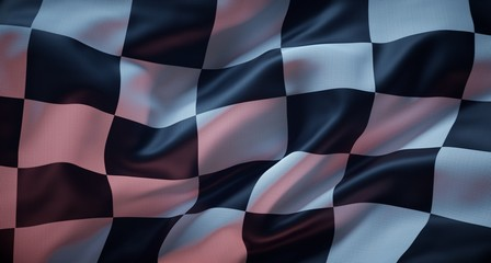Stores à enrouleur F1 White and black flag checkered for race.