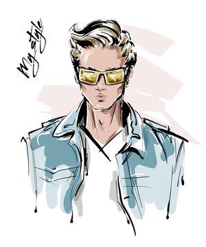 Hand drawn stylish man in sunglasses. Fashion handsome man. Sketch. Vector illustration.