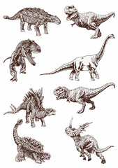 Graphical vintage set of dinosaurs ,vector retro illustration