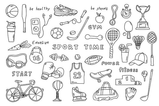 Set of sport elements with lettering. Funny doodle hand drawn vector illustration. Cute cartoon black and white collection.