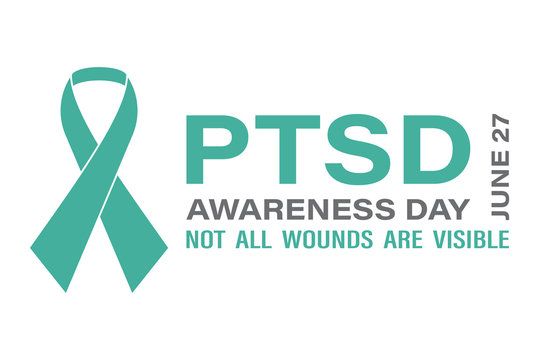 National PTSD Awareness Day in June 27. Post Traumatic Stress Disorder.Background, poster, card, banner design.
