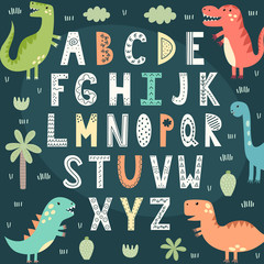 Funny alphabet with cute dinosaurs. Educational poster for children