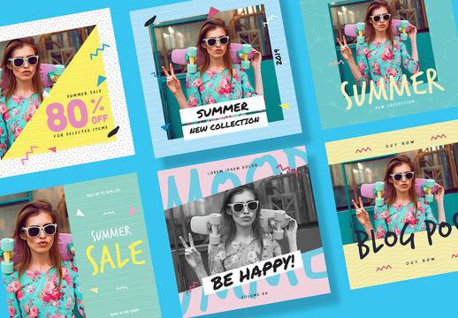 Summer Sale Promotional Social Post Set Layout