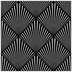 Seamless monochrome vector graphic of art deco design with a tessellation of squares, each containing a fan design.