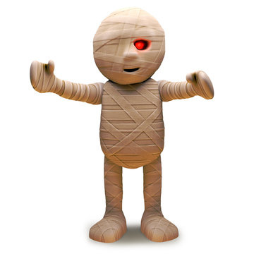 Cartoon undead Egyptian mummy monster has spotted you, 3d illustration