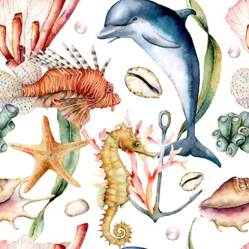 Watercolor seamless pattern with animals. Hand painted dolphin, lionfish, seahorse and anchor illustration isolated on white background. Nautical illustration for design, print and background.