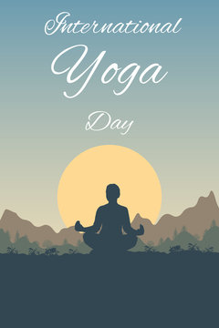 Yoga Day - vector outdoor background. Woman under a tree in a Lotus position in nature on a sunset landscape, forest, mountains. Flat layout for social card, poster, banner, media stories with text.