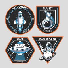Set of Space explorer patches emblems design