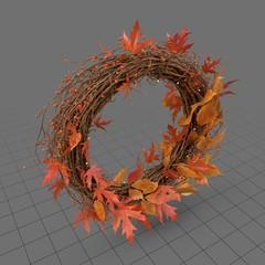Autumn wreath with orange leaves