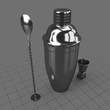 Cocktail shaker with bar spoon and jigger