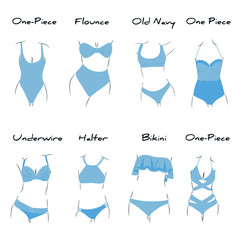 Illustration with types of swimsuites inside. Every type has name. For beauty and fashion style needs