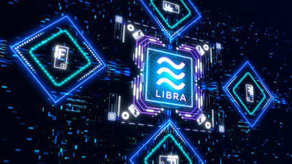 The Libra virtual currency symbol. finance and business background
