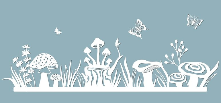 Template glade for to cut with a laser from paper. Line with mushrooms, grass, toadstools and butterflies. For decoration and design. Laser cut. Template for laser cutting and Plotter. Vector illustra