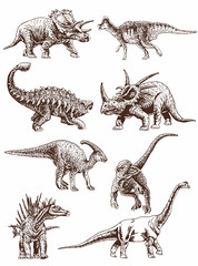 Graphical vintage set of dinosaurs ,vector sketchy illustration