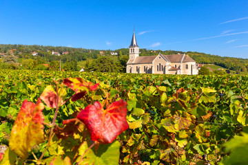 Beautiful church of Givry, nestled in the vineyards of Burgundy, France