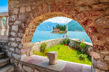 Beautiful mediterranean landscape. St. George Island near town Perast, Kotor bay, Montenegro. Fototapete