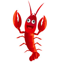 Funny red cartoon character crayfish on white background.Vector illustration