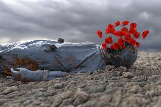 poppy grows out from spacesuit astronaut