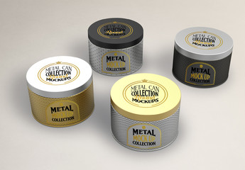 Metal Can Plug Cap Set Mockup