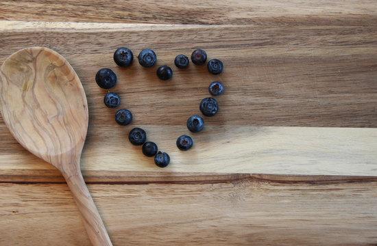 Blueberries arranged as a heart