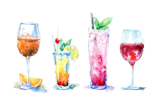 Glass of a aperol and orange,red wine,grenadine cocktail.Picture of a alcoholic drink.Watercolor hand drawn illustration.White background.