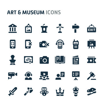 Art & Museum Vector Icon Set. Fillio Black Icon Series.