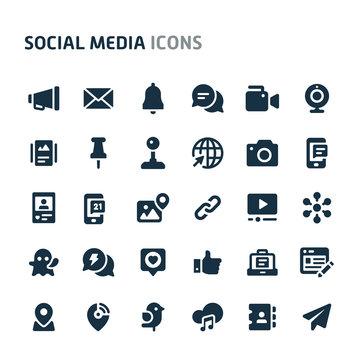 Social Media Vector Icon Set. Fillio Black Icon Series.