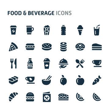 Food & Beverage Vector Icon Set. Fillio Black Icon Series.
