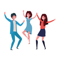 group of people dancing in white background