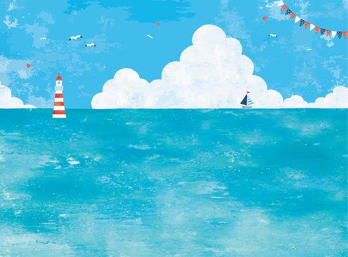 油彩の海と入道雲の景色