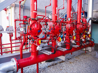 Firefighting systems in industrial zone which picture was taken in power plant.