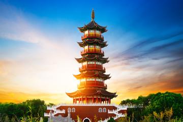 Giant Wild Goose Pagoda in the Morning, Xi'an, China - fototapety na wymiar