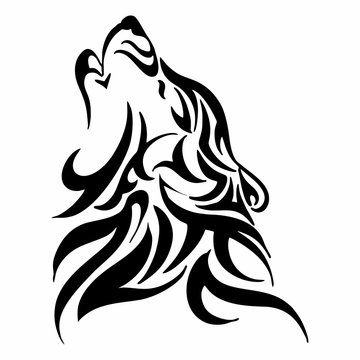 tribal wolf howl head tattoo vector isolate