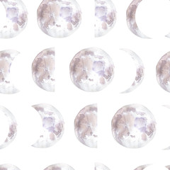 Watercolor seamless pattern with moon phases. Monthly cycle