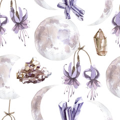 Watercolor seamless pattern with transparent shiny crystals and moon phases.
