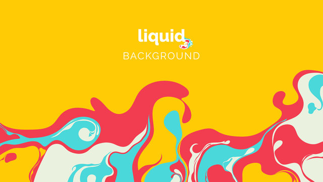 Abstract liquid background, in warm red, blue and light green ink on yellow
