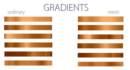Yellow gradients. Set or palette. Mesh and regular gradients. Golden colors. For designers. Vector illustration. Holiday colors. Graphic resources. Yellow and orange color.