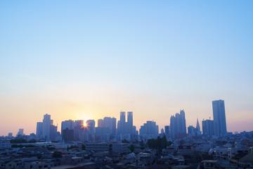 Foto op Canvas Stad gebouw 新宿・高層ビル群・東京・朝日
