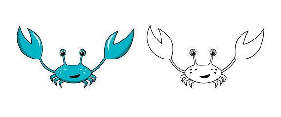 Coloring page outline of cartoon blue crab isolated on white background. Coloring book for kids. Vector illustration