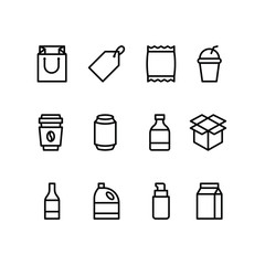 Packaging icons set. For packaging products and materials, vector line illustration.