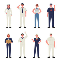 Characters wearing various sailor costumes. flat design style minimal vector illustration.