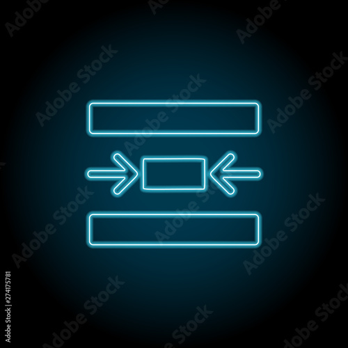 center, text neon icon  Simple thin line, outline vector of