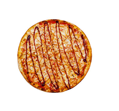 BBQ Chicken Pizza, top view. Cut into pieces. Isolated on white.