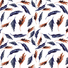 Watercolor feathers pattern. Hand painted texture with various multicolor bird feathers on white background.