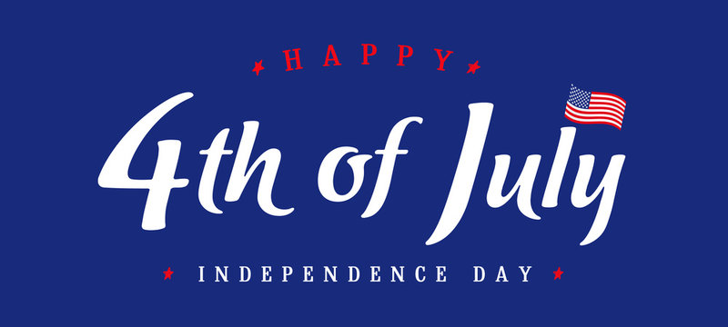 Fourth of July, United States of America Independence Day vintage card. 4th of July logo design for typography banner or poster. Vector calligraphic Illustration