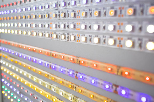 large selection of multi-colored led strip lights